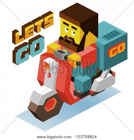 Motor delivery order. Isometric vector illustration