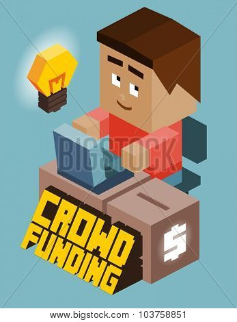 Crownfunding game developer. Isometric vector illustration