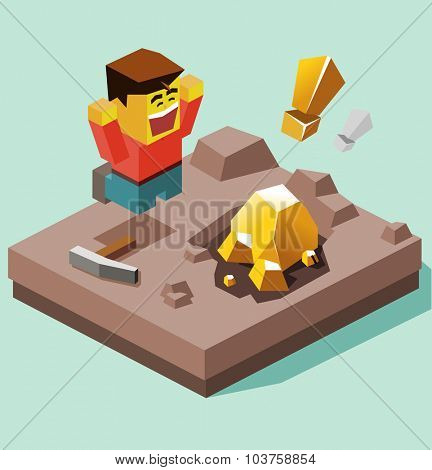 Jackpot Luck. Isometric vector illustration