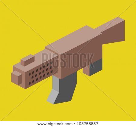 MSG machine gun. Isometric vector illustration