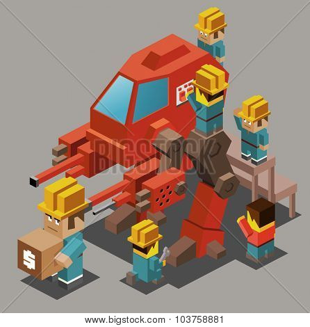 Mecha research funding. Isometric vector illustration