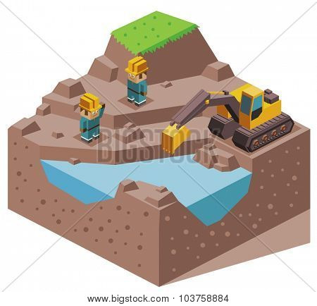 Land reclamation. Isometric vector illustration