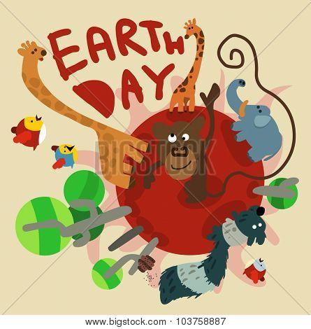 Earth day celebration. Vector illustration Flat