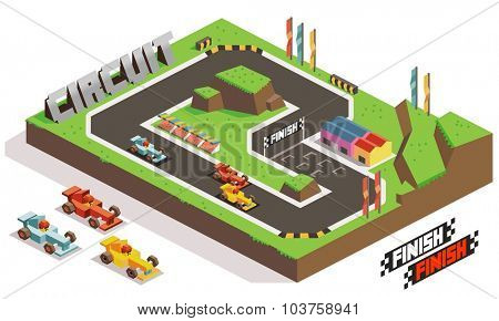 Race Track Car. Isometric vector illustration