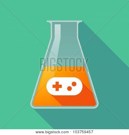 Long Shadow Chemical Test Tube Flask With A Game Pad