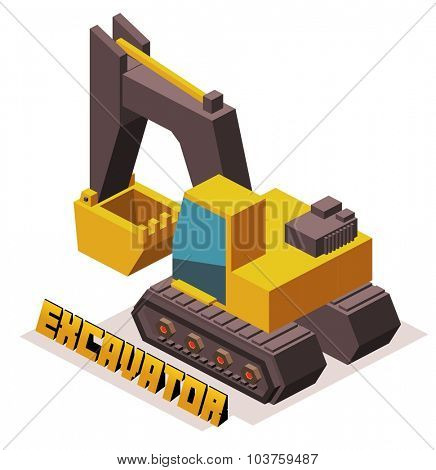 isometric yellow 3D excavator machine