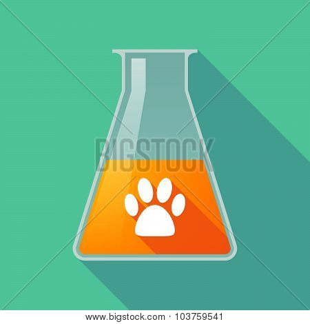 Long Shadow Chemical Test Tube Flask With An Animal Footprint