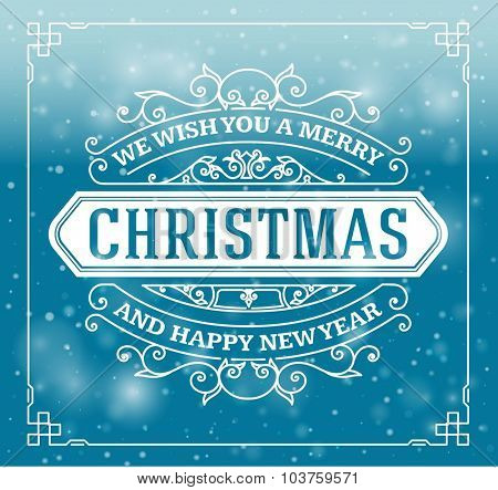 Christmas greeting card background. vintage ornament decoration with Merry Christmas and Happy new year message. Vector illustration.