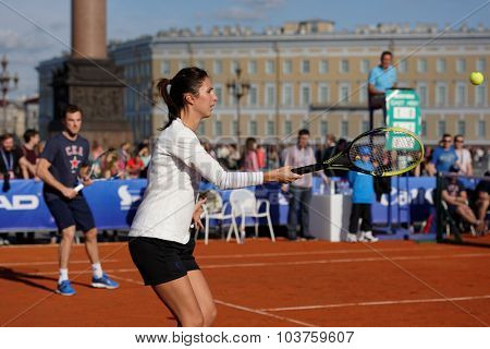 ST. PETERSBURG, RUSSIA - SEPTEMBER 12, 2015: Former professional tennis player Anastasia Myskina in the exhibition match of St. Petersburg Open. The match included in the program of City's Tennis Day