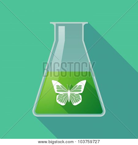 Long Shadow Chemical Test Tube Flask With A Butterfly
