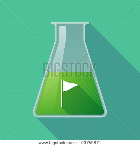 Long Shadow Chemical Test Tube Flask With A Golf Flag