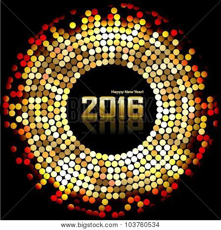 Christmas Background with Gold Mosaics and the date of the New Year on a dark. Illustration vector EPS10