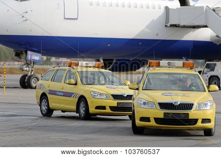 ST. PETERSBURG, RUSSIA - SEPTEMBER 24, 2015:  Skoda Octavia Continuous Friction Measuring Equipment of ASFT during the annual review of equipment in the Pulkovo airport in order to prepare to winter