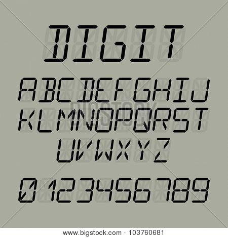 Digit font vector illustration