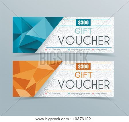 Voucher Template With Geometric  Background