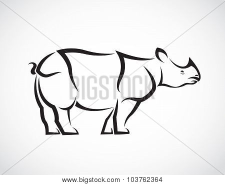 Vector Image Of A Rhinoceros Design On White Background