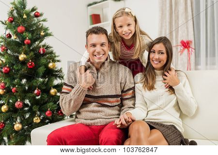 Happy Family At Christmas Or New Year Holiday