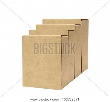Empty cardboard boxes on white