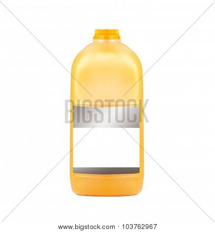 Orange juice gallon close-up isolated on white background