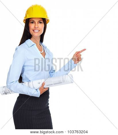 Young architect woman with plan isolated on white background.