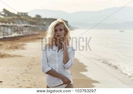 Beautiful blonde on the beach