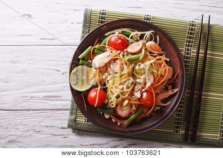 Thai Green Papaya Salad With Shrimp. Horizontal Top View