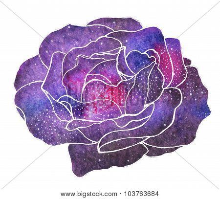 Cosmic Rose. Hand-drawn Flower With Galaxy.