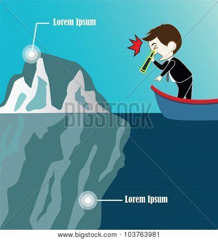 Businessman On Boat Look Iceberg By Binocular