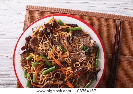 Lo Mein With Beef, Muer And Vegetables Closeup. Horizontal Top View