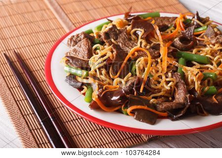 Lo Mein With Beef, Muer And Vegetables Close-up. Horizontal