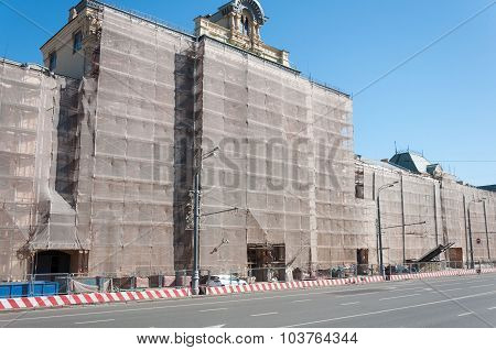 MOSCOW, RUSSIA - 21.09.2015. Polytechnical Museum in scaffolding reconstruction