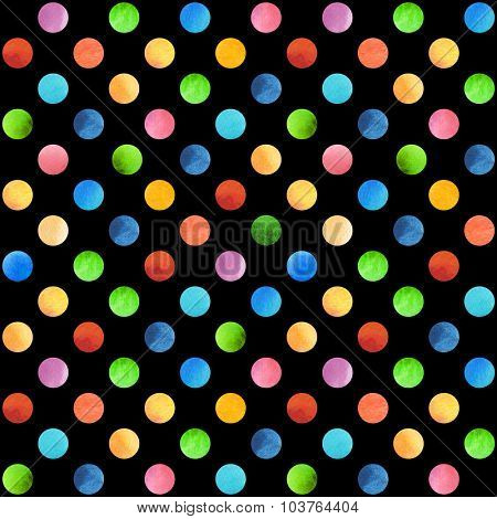 Seamless retro geometric pattern with polka dots. Colored ornament isolated on black. Watercolor background, wrapping paper. Blue, red, green and yellow circles.