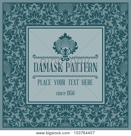 Luxury background with pattern in damask trendy style. Rich ornamentation with floral elements. There is space for your text. Vector illustration.