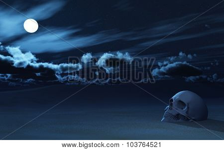 3D render of a skull partially buried in sand against night sky