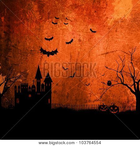 Detailed orange grunge Halloween background with haunted house