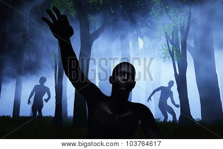 3D render of zombies in a foggy spooky forest