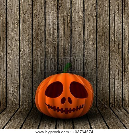 3D render of a Halloween jack o lantern on a wooden background