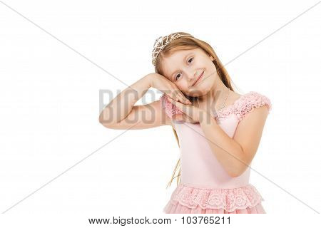 Cute little girl with a diadem isolated ** Note: Soft Focus at 100%, best at smaller sizes