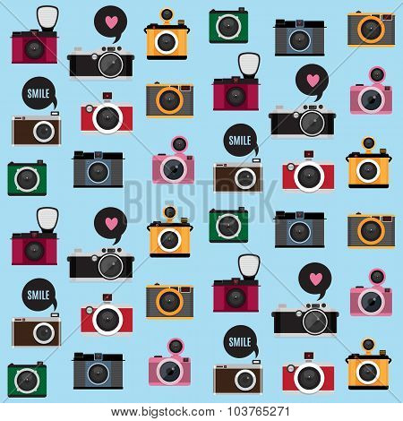 Seamless Pattern With Photo Camera Icons.