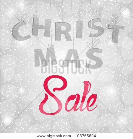 Christmas  sale background with red and grey text on silver background with snowflakes. Winter sale banner, vector illustration