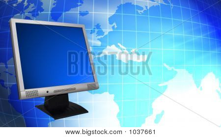 Lcd Monitor And World Map