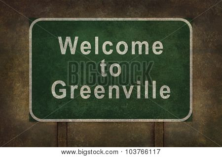 Welcome To Greenville Roadside Sign Illustration