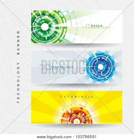 Abstract technology web banner with tech background.