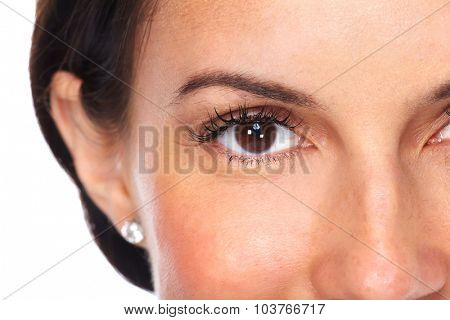 Beautiful young woman eyes isolated white background.