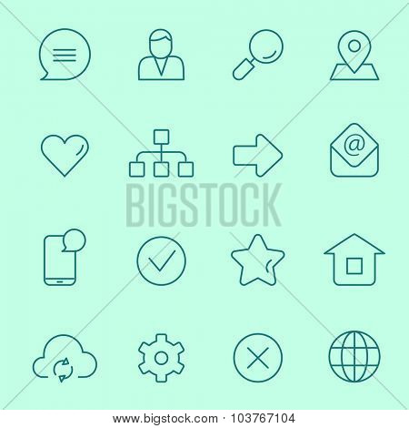 Web icons, thin line design