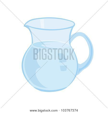 Jug With Milk Isolated On A White Background Vector Illustration. Transparent Top.