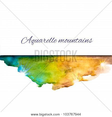Aquarelle Mountains Blue Yellow