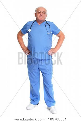 Elderly medical doctor isolated over white background.