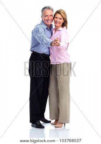 Happy loving elderly couple dancing isolated white background.