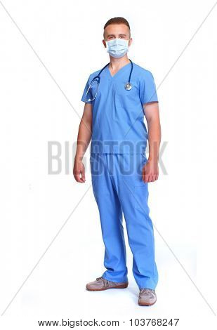 Young medical doctor isolated over white background.